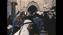 Vintage 16mm film, 1962, Jerusalem people busy walk Stock Footage
