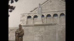 Vintage 16mm film, 1962, Jerusalem Saint Hieronymus statue Stock Footage