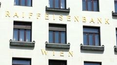 Raiffeisen Bank in Vienna - the bank's name on the facade Stock Footage
