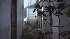 Abandoned house establishing shot window fig Stock Footage
