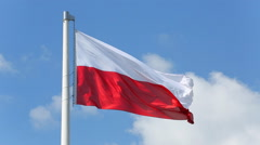 Polish flag waving in the wind - stock footage