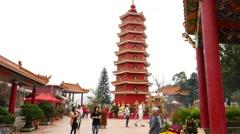 Beautiful red pagoda in gorgeous monastery courtyard, Chinese new year Stock Footage