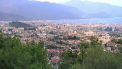 Aerial panoramic view over Marmaris, Turkey - stock footage