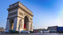 Arc de Triomphe in Paris and French flag - stock footage