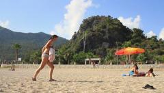 Beach in summertime at Oludeniz Stock Footage