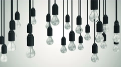 4K Seamless Looping Animation of Hanging Light Bulbs on a gradient background - stock footage