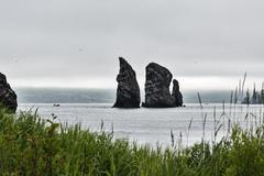 Three Brothers Rocks in Avacha Bay. Kamchatka, Far East, Russia Stock Photos