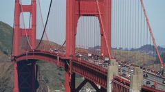 Close up from traffic at The Golden Gate Bridge in San Francisco Stock Footage