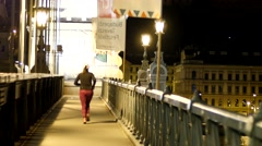 The practice of sport jogging in the evening - a healthy lifestyle Stock Footage