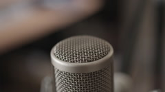 Closeup of expensive microphone - focus moving in and out Stock Footage