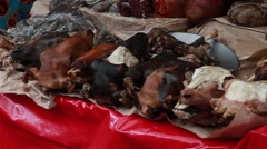 Mexican Outdoor Market - Goat Heads - stock footage