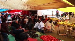 Mexican Outdoor Market - Fruit Produce - Trucking Shot Stock Footage