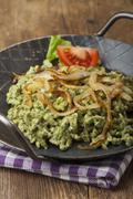 bavarian pasta in an iron pan - stock photo
