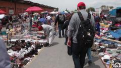 Mexican Outdoor Market - Americans Walking Past Stock Footage