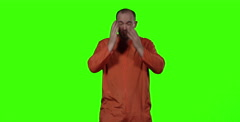 Isolated on Green - Inmate regrets his crimes after being sent to jail Stock Footage