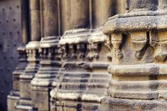closeup details of decoration portico from Barcelona Cathedral medieval building - stock photo