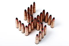 isolated ,many bullets in the form of Kolovrat - stock photo