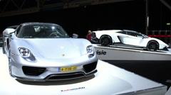 Porsche 918 Spyder and Lamborghini Aventador Stock Footage