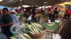 Mexican Outdoor Market - Corn Shucks - Trucking/Dollying Shot - Peace Sign Stock Footage