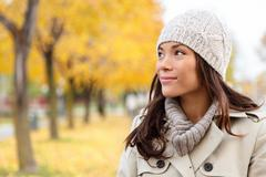Fall woman looking portrait - stock photo