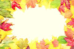 Leaves fall frame - stock photo