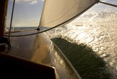 Sailing aboard an SS class sailboat from the Museum of Yachting in Newport, Stock Photos