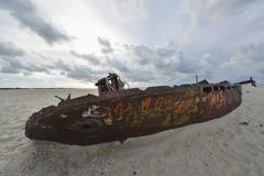 The Shipwreck at East End, Norderney, East Frisia Island, North Sea, Lower - stock photo