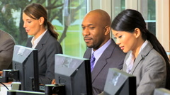 multi ethnic male female business financial stock advisor computer technology - stock footage
