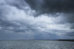 Stock Photo of Thunder Storm over Lake, Etang de Vaccares, Camargue, Bouches-du-Rhone,