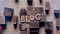 Blog composed out of letterpress blocks - stock footage