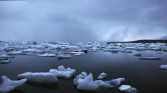 Icebergs on the lake moving Stock Footage