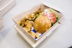 Hamburger and Potato Chips in Take-out Box, Studio Shot Stock Photos
