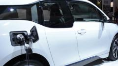 Charging BMW i3 urban electric car Stock Footage