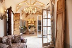 Luxury livingroom and foyer - stock photo