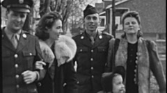 USA 1940's: soldiers with their family Stock Footage