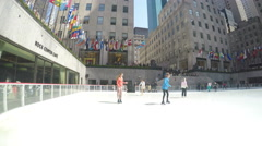 4k Spring Ice skating The Rink at Rockefeller Center Stock Footage
