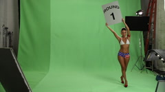 USA Boxing Ring Girl - stock footage