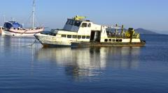 Abandoned ship wreck berthed on Kucukyali Marina Stock Footage