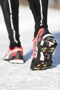 Running shoes traction soles - stock photo