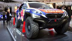 Peugeot 2008 DKR Paris-Dakar rally car Stock Footage