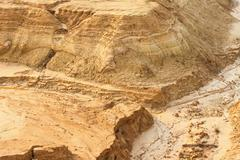 Sandy coast of open-cast mine - stock photo