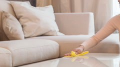 Woman cleaning living-room - stock footage
