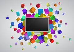 illustration of monitor with colorful abstract cubes - stock illustration