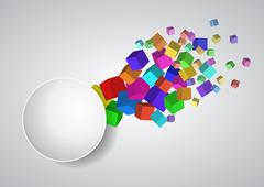 Stock Illustration of illustration of balnk circle area with abstract colorful cubes