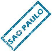 Sao Paulo rubber stamp - stock illustration