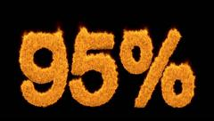 Glowing 95 percent icon in flaming fiery numerals Stock Footage