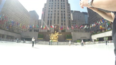 4k Rockefeller Center wide angle Stock Footage