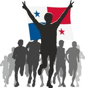 Athlete with the Panama flag at the finish Stock Illustration