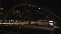 Toronto Nathan Phillips Square Night Pond Arches Stock Footage