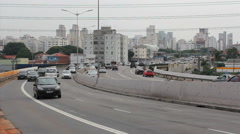 Traffic. Washington Luis Avenue, Sao Paulo, Brazil.  Cars, truck, bus Stock Footage
